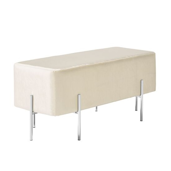 Ryman Bench In White Velvet And Polished Stainless Steel