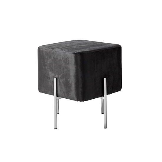 Ryman Stool In Black Velvet And Polished Stainless Steel