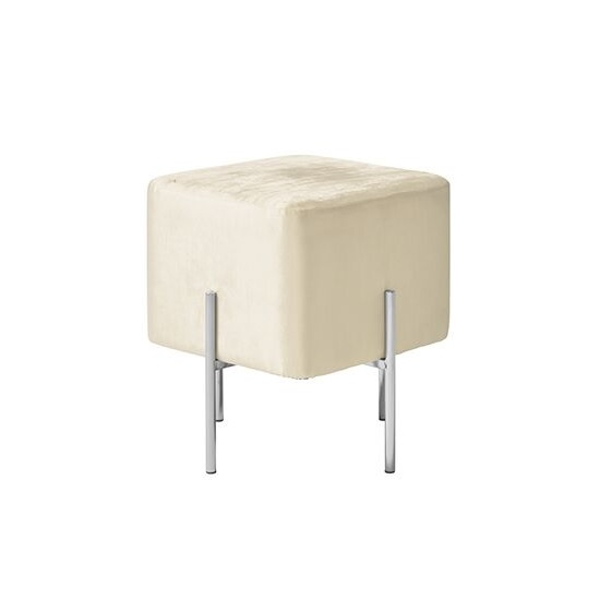 View Ryman stool in white velvet and polished stainless steel
