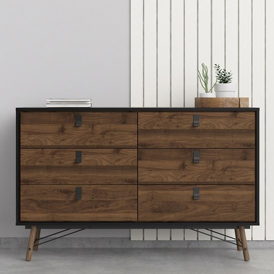View Rynok wide chest of drawers in matt white with 6 drawers