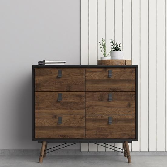 View Rynok wooden chest of drawers in matt black walnut with 6 drawer