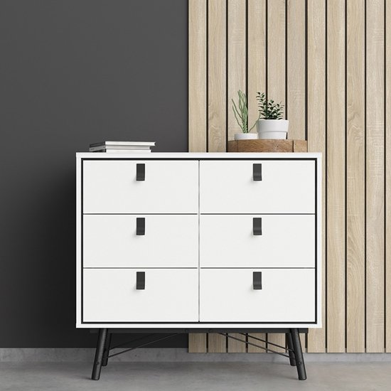 View Rynok wooden chest of drawers in matt white with 6 drawers