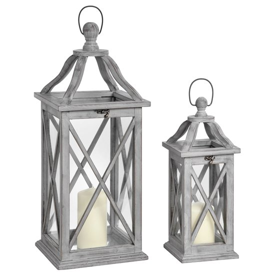 Ryrie Wooden Set Of Two Lanterns In Grey With Cross Section