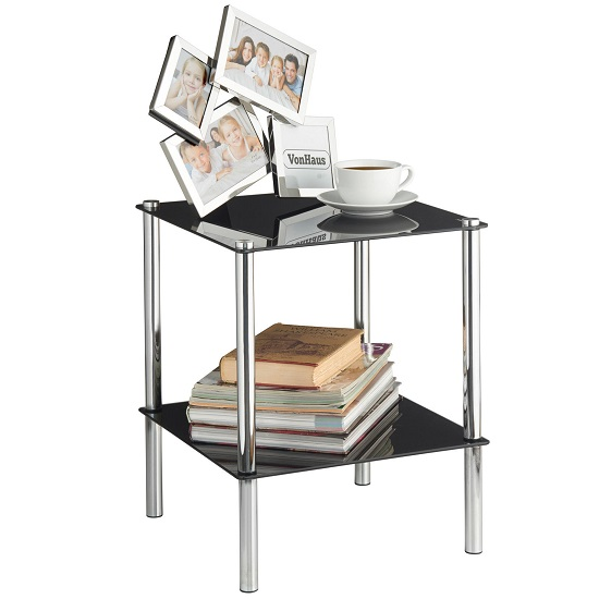 2 Tier End Table In Black Glass With Chrome Legs_2