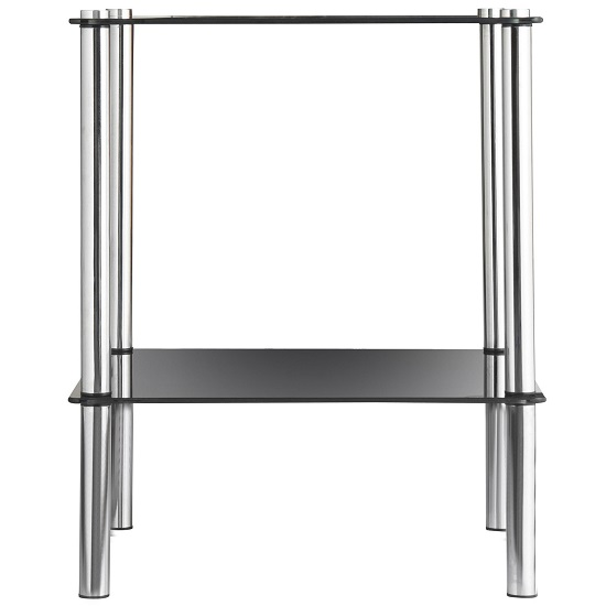 2 Tier End Table In Black Glass With Chrome Legs_3