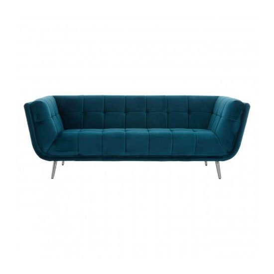 Sabina 3 Seater Fabric Sofa In Teal_1
