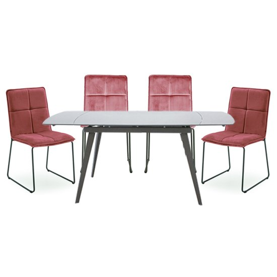 Sabina Extending Cappuccino Dining Table 4 Soren Blush Chairs