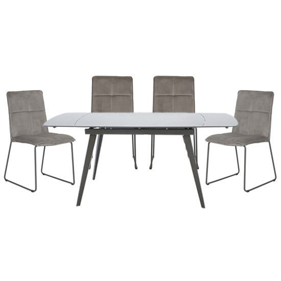 Sabina Extending Cappuccino Dining Table 4 Soren Mink Chairs