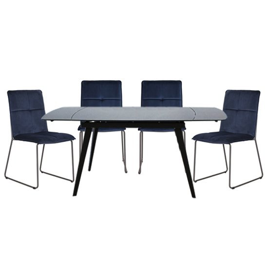 Sabina Extending Grey Dining Table With 4 Soren Blue Chairs_1