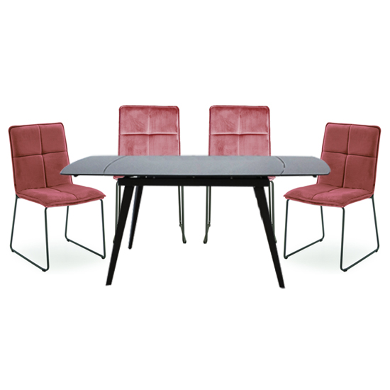 Sabina Extending Grey Dining Table With 4 Soren Blush Chairs