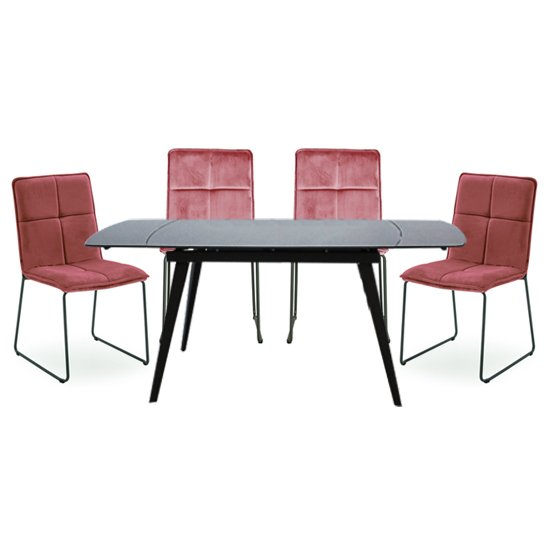 Sabina Extending Grey Dining Table With 4 Soren Blush Chairs_1