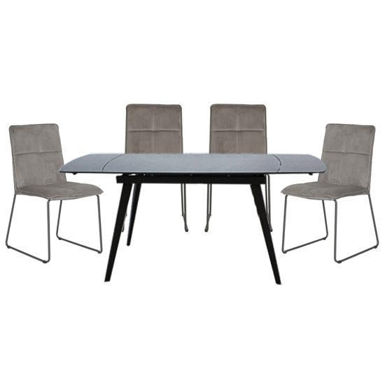 Sabina Extending Grey Dining Table With 4 Soren Mink Chairs