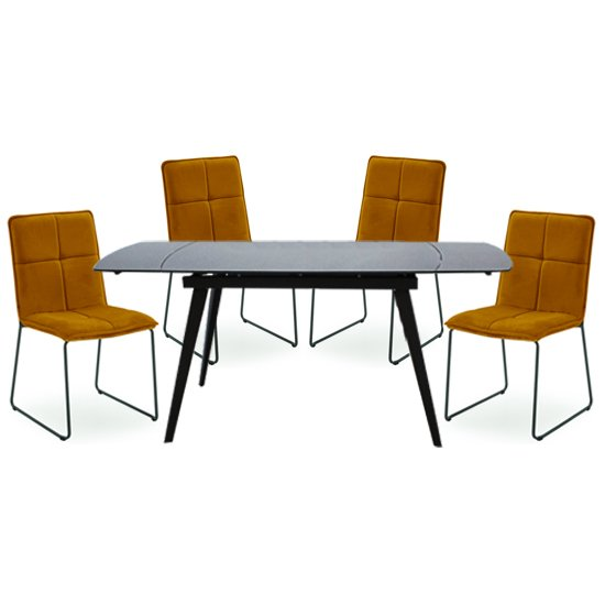 Sabina Extending Grey Dining Table With 4 Soren Mustard Chairs