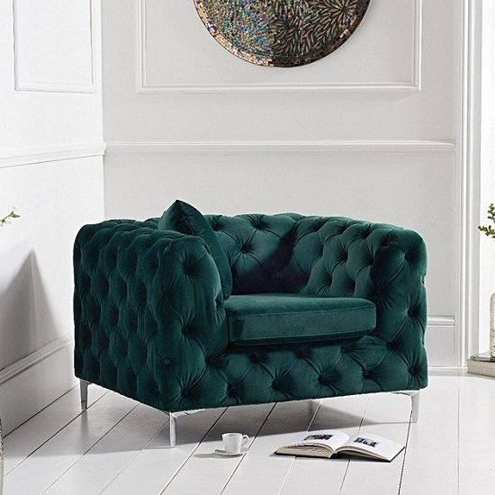 Sabine Velvet Armchair In Plush Green With Metal Legs