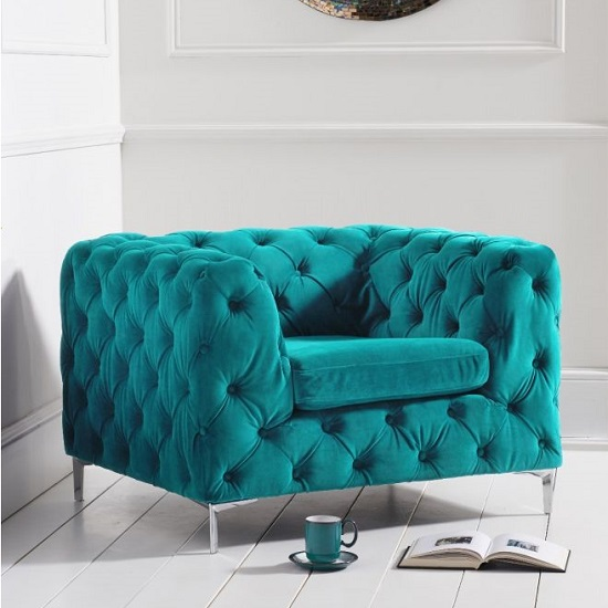 Sabine Velvet Armchair In Plush Teal With Metal Legs_2