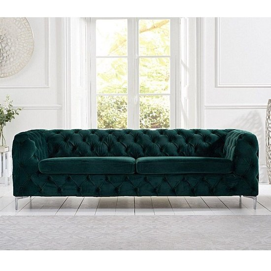 Sabine Velvet Three Seater Sofa In Plush Green With Metal Legs