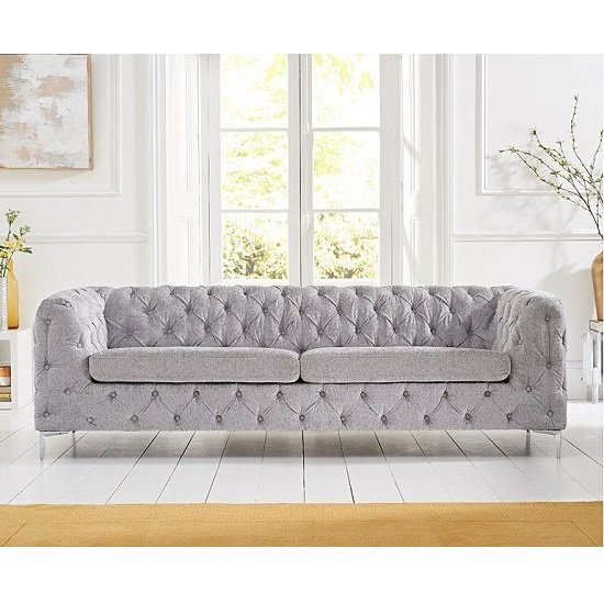Sabine Velvet Three Seater Sofa In Plush Grey With Metal Legs