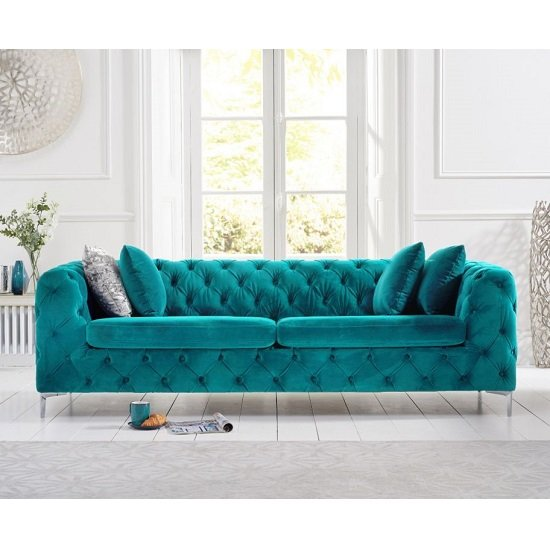 Sabine Velvet Three Seater Sofa In Plush Teal With Metal Legs