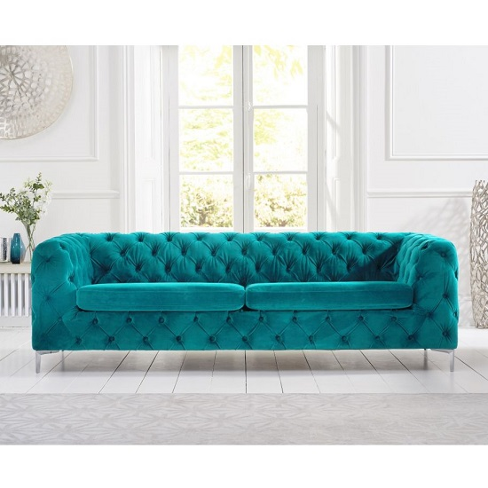 Sabine Velvet Three Seater Sofa In Plush Teal With Metal Legs_2