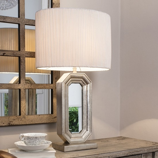 Sabino Table Lamp With White Oval Shade