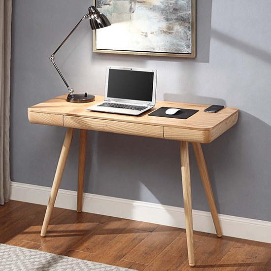 View Sacramento wooden laptop desk in oak with 1 drawer