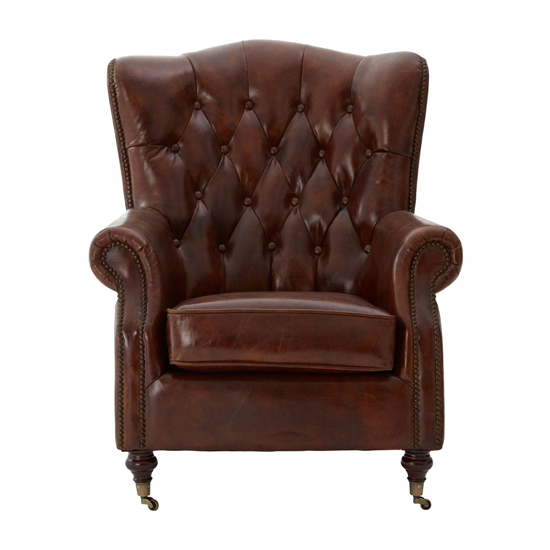 Sadalmelik Faux Leather Scroll Armchair In Brown_2