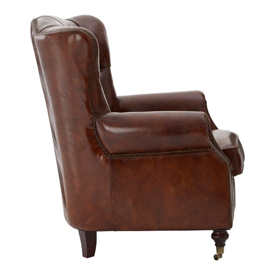 Sadalmelik Faux Leather Scroll Armchair In Brown_3