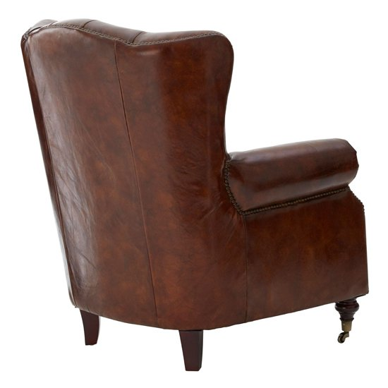 Sadalmelik Faux Leather Scroll Armchair In Brown_4