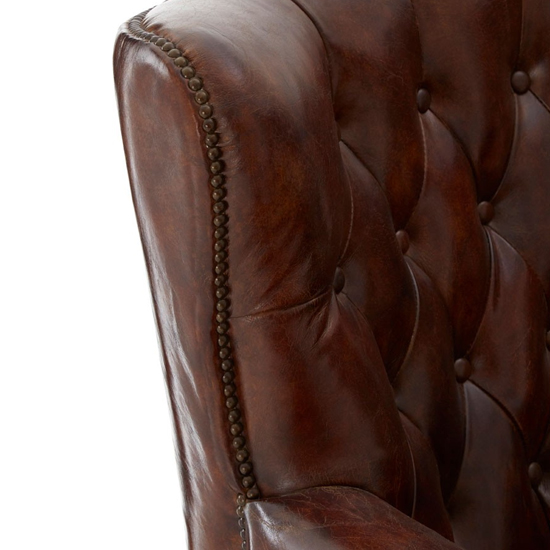 Sadalmelik Faux Leather Scroll Armchair In Brown_6