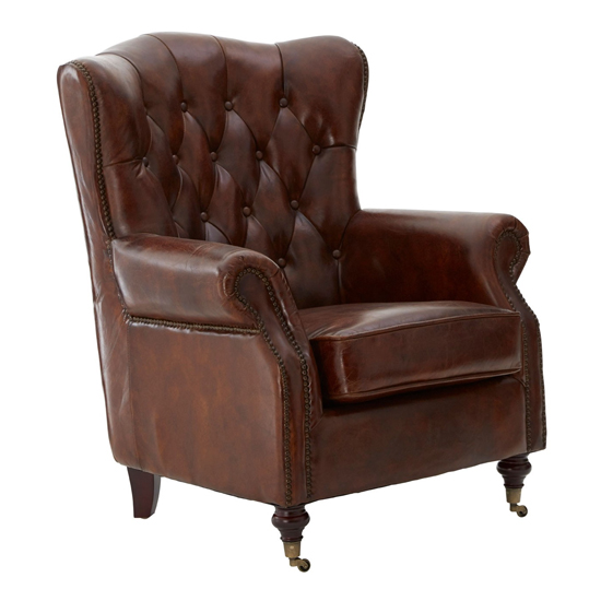 Sadalmelik Faux Leather Scroll Armchair In Brown_1