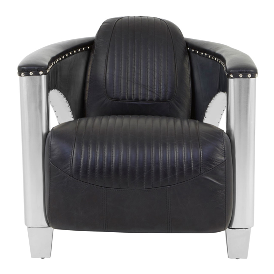 Sadalmelik Faux Leather Sofa Armchair In Black With Silver Frame