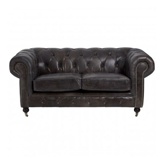 Sadalmelik 2 Seater Leather Sofa In Dark Grey