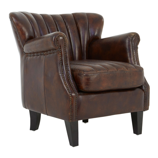 Sadalmelik Winged Leather Armchair In Brown With Black Legs