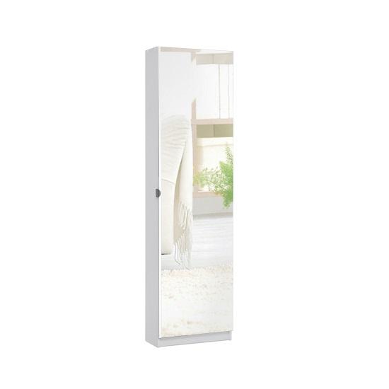 Safari Shoe Storage Cabinet In White With Mirror Front