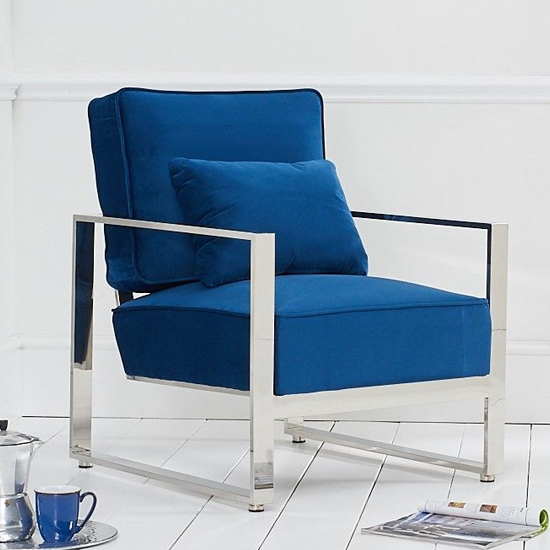 Saffiyas Velvet Upholstered Accent Chair In Blue_1