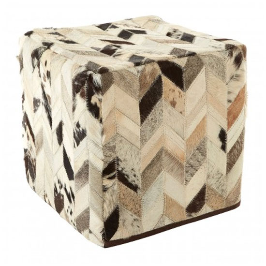 Safire Leather Patchwork Pouffe In Black And White