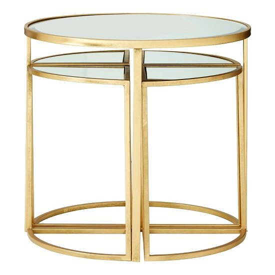 Saga Set Of 5 Mirrored Tops Side Tables With Gold Finish Frame
