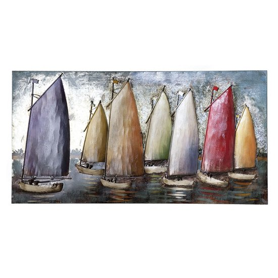 Sailing Regatta Picture Metal Wall Art In Multicolor And Blue