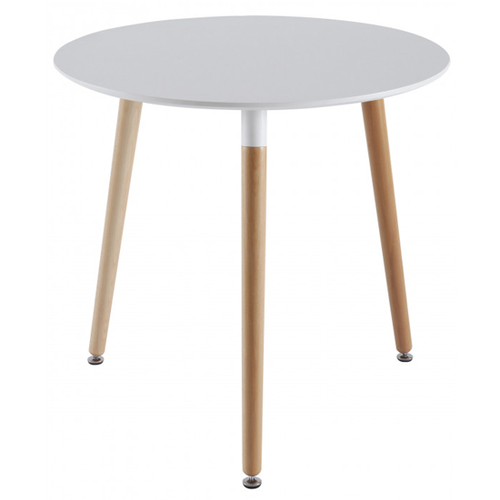 Saintandre Round Wooden Dining Table In White