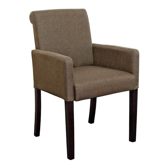 Saiph Fabric Upholstered Carver Dining Chair In Brown