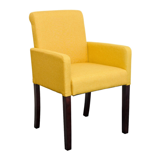 Saiph Yellow Fabric Upholstered Carver Dining Chairs In ...