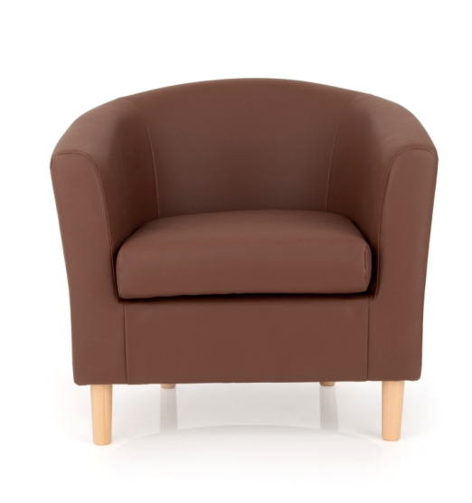 Salcombe Upholstered Faux Brown Leather Tub Chair