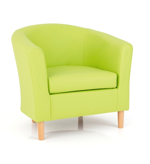 Salcombe Upholstered Faux Lime Green Leather Tub Chair