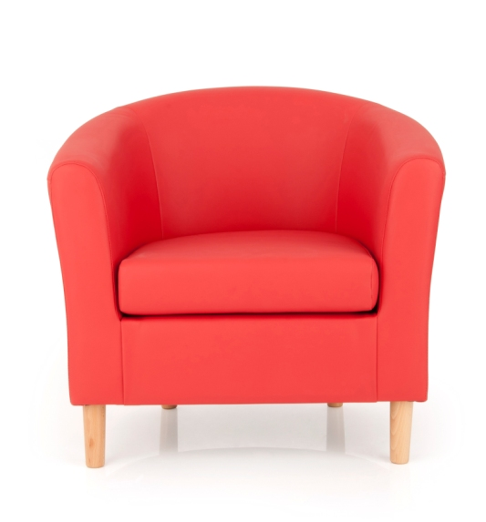 Salcombe Upholstered Red Faux Leather Tub Chair