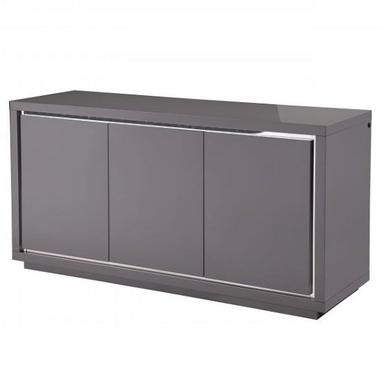 Salento Modern Sideboard In Grey High Gloss With LED