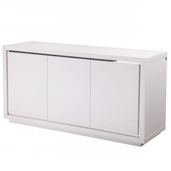 Salento Modern Sideboard In White High Gloss With LED