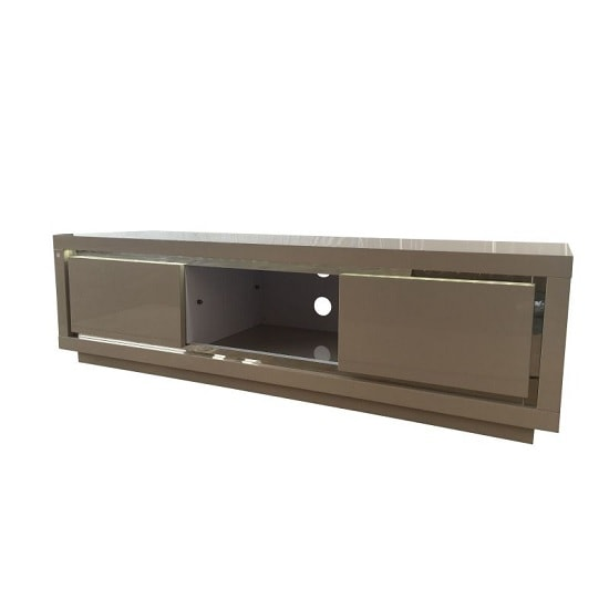 Salento Modern TV Stand In Cream High Gloss With LED