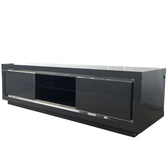 Salento Modern TV Stand In Grey High Gloss With LED_2