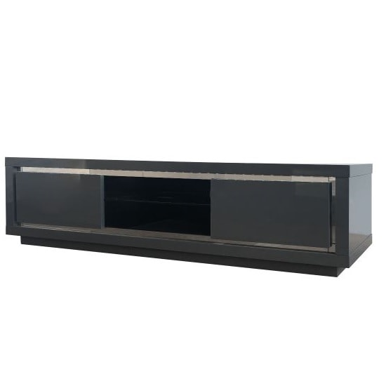 Salento Modern TV Stand In Grey High Gloss With LED_3