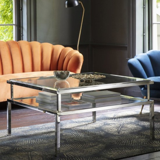 Salerno Clear Glass Coffee Table In Silver